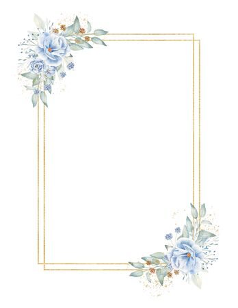 Rectangular frame with floral elements hand drawn raster illustration. Golden geometric shapes, linen branches with flowers isolated watercolor composition. Aquarelle border with herbal elements Reklamní fotografie
