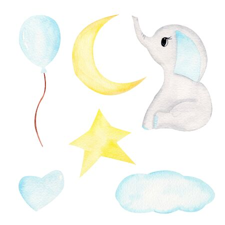 Baby elephant and celestial bodies hand drawn raster illustration. Animal boy and balloon, star, moon and clouds watercolor set. Cute isolated aquarelle elephant calf with heavenly bodies