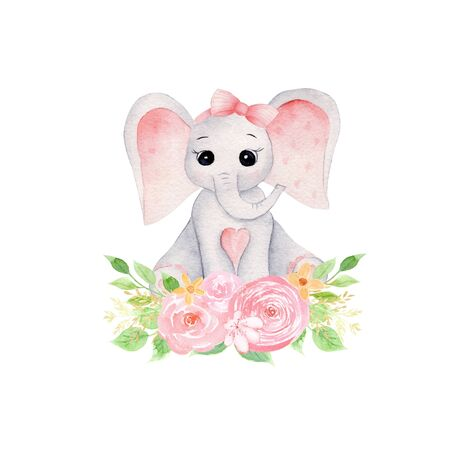 Baby elephant and bouquet hand drawn raster illustration. Cute animal girl with flowers and leaves isolated watercolor composition. Aquarelle elephant calf with pink botanical elements Reklamní fotografie