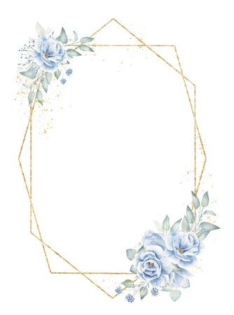 Geometric blank frame with floral elements hand drawn raster illustration. Golden octagon and hexagon with linen flowers isolated watercolor composition. Empty double aquarelle herbal border