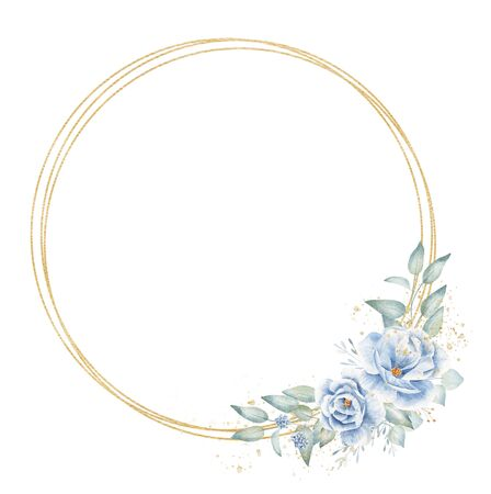 Triple circular floral border hand drawn raster illustration. Golden circles and plant twigs with flowers isolated watercolor composition. Blank aquarelle frame with decorative botanical elements