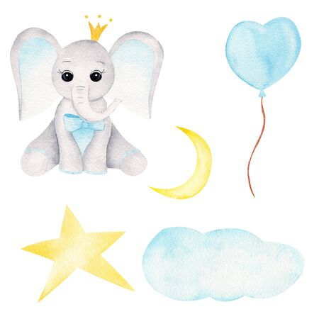 Prince baby elephant hand drawn raster illustration. Animal boy, balloon and celestial bodies watercolor set. Cute aquarelle elephant calf with crown and bow isolated on white background