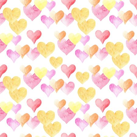 Watercolor colorful hearts seamless watercolor raster pattern. Hand drawn romantic wrapping paper, wallpaper textile design