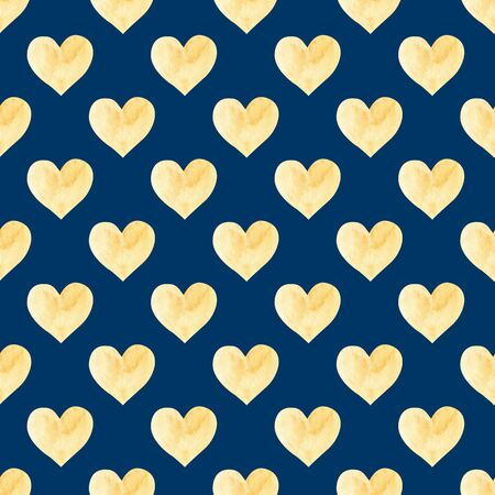 Seamless pattern with yellow hand drawn watercolor heart. Hand painted pattern. Romantic ornament for valentines day. Isolated on blue background.