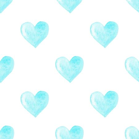 Watercolor hearts seamless pattern. Blue watercolor heart digital paper. Colorful watercolor romantic texture.