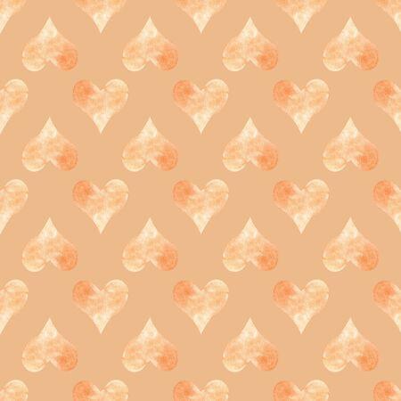 Seamless pattern with orange hearts. Hand drawn raster illustration. Decorative elements for design. Creative art work