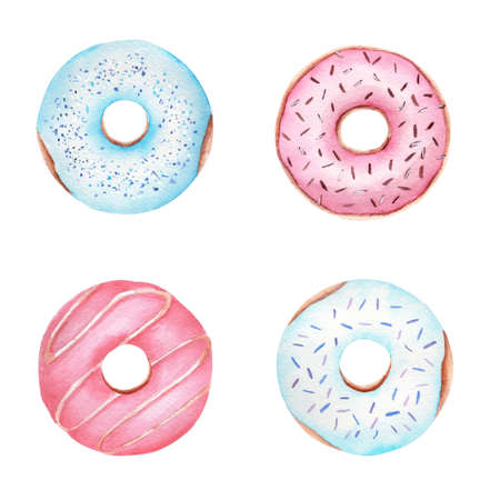 Watercolor dessert donuts isolated on white background. Sweet food clipart set. 免版税图像