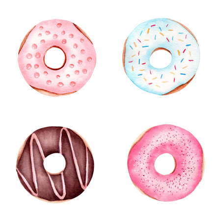 Illustration set of donuts. Watercolor hand drawn clipart. For design textile, cards, menu, fabric, paper, stickers.