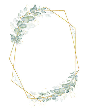 Golden greenery frame isolated on white background. Watercolor clipart.