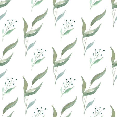 Watercolor greenery seamless pattern. Botanical branches and leaves digital paper.