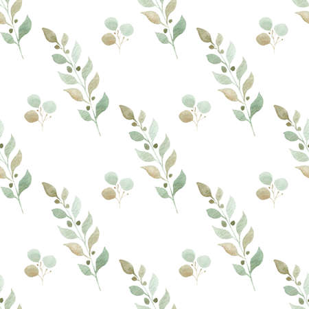 Watercolor eucalyptus branches seamless pattern. Hand painted greenery leaves digital paper.