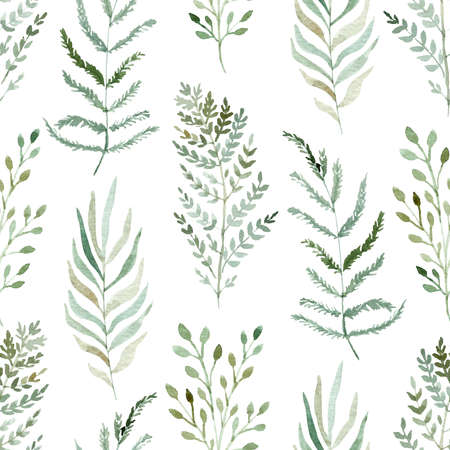 Watercolor greenery seamless pattern on white background. Hand drawn illustration.