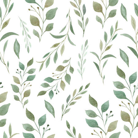 Greenery seamless pattern. Hand painted branches and leaves digital paper. 免版税图像