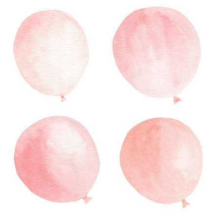 Pink balloons watercolor clipart set. Hand drawn illustration. Design for party decorations, baby shower invitation, nursery room wallpaper. 免版税图像