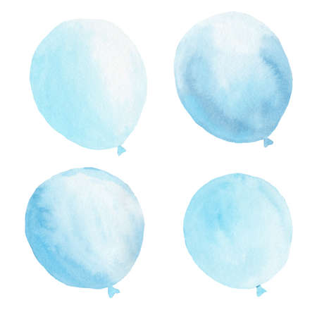 Watercolor light blue balloons set. Hand painted clipart. Graphic illustration for baby shower invitation, nursery room, party decoration. 免版税图像