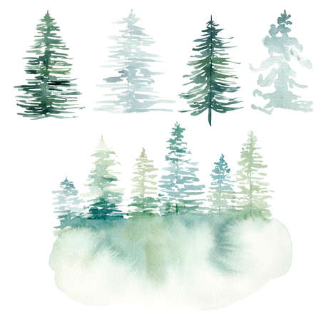 Watercolor hand painted winter landscape with pine trees in the mountains. Christmas pine tree clipart. Graphics for diy, scrapbooking, packaging, fabric, textile, invitations, cards.