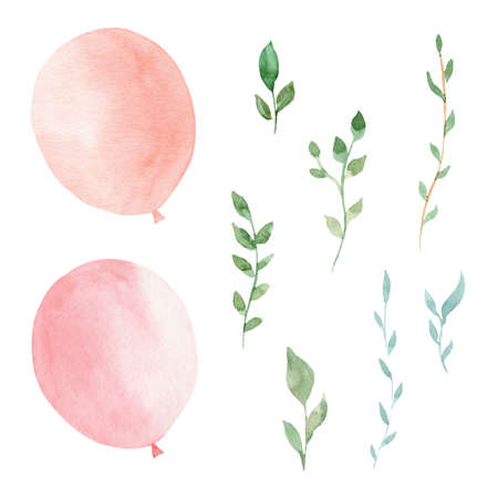 Watercolor pink balloons and greenery leaves. Hand painted clipart set. Illustrations for party invitation, greeting cards, baby shower, kids nursery room design, diy scrapbooking.