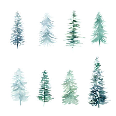 Pine trees watercolor clipart isolated on white background. Winter Christmas hand painted illustration. Perfect for diy projects, scrapbooking, packaging, textile, fabric, xmas cards, invitations. 免版税图像