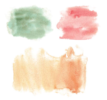 Watercolor green, red, orange brush texture. Hand painted abstract grunge art paint stain. Graphics background for title 免版税图像
