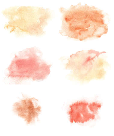 Watercolor stain splashes isolated on white. Red orange yellow brown hand painted textures. 免版税图像
