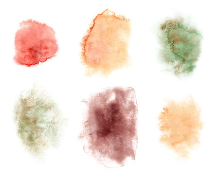 Colorful abstract watercolor stain isolated on white. Modern creative background for trendy design. Hand painted clipart.