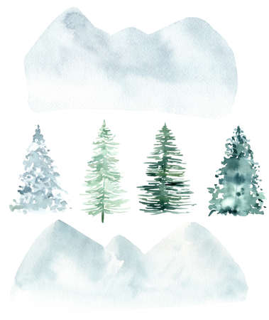 Watercolor pine trees and abstract woodland mountains isolated on white background. Winter Christmas clipart. Hand painted graphics for invitations, cards, packaging, diy. 免版税图像