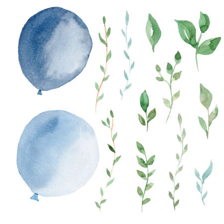Hand drawn watercolor clipart set of light blue balloons and greenery leaves. Graphic illustrations for invitations, greeting cards, party and baby shower.