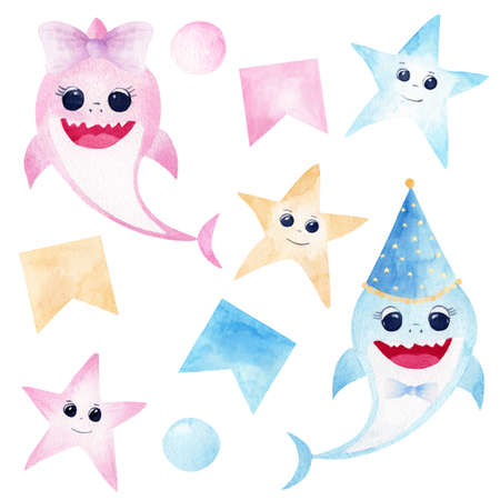 Baby shark watercolor clipart. Pink and blue smiling sharks, colorful starfishes and party decorations isolated on white background. Perfect for baby shower, nursery art, invitations, greeting cards.