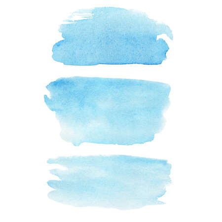 Blue watercolor texture isolated on white. Modern creative background for trendy design. Hand painted clipart.
