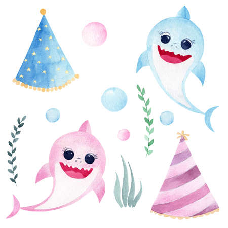 Baby shark watercolor clipart. Hand painted smiling sharks, sea greenery, party hats and drops. Printable decorations for birthday, baby shower, nursery wall and decor. 免版税图像