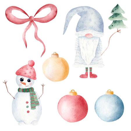 Christmas gnome, snowman, tree and balls watercolor clipart. Hand painted illustration. Printable Xmas decoration. Graphics for invitations, signs, greeting cards.