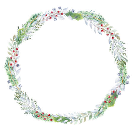 Hand painted watercolor wreath with greenery and red berries. Christmas clipart. Design for invitations, cards, signs, diy. 免版税图像