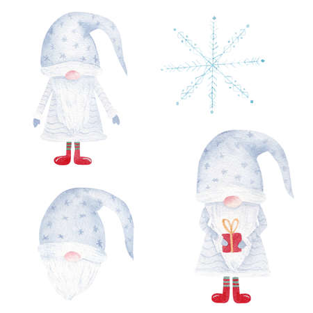 Christmas watercolor gnome and snowflake. Hand painted santa illustration set isolated on white background. Graphics for decorations, greeting cards, diy, scrapbooking.