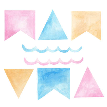 Watercolor party festoons, flags, wave. Hand drawn clipart. Illustration set for birthday decorations, greeting cards, invitations, baby shower.