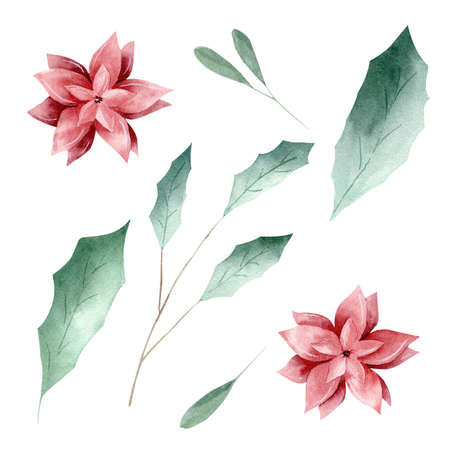 Watercolor green leaves and red flowers isolated on white background. Clipart set for invitations, graphics, greeting cards, diy scrapbooking.