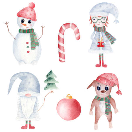 Watercolor Christmas clipart set isolated on white background. Hand painted snowman, gnome, xmas girl and dog. Red ball tree and candy cane. Printable winter holidays decoration.