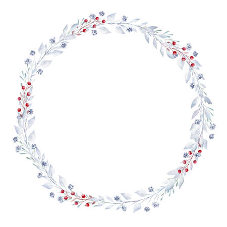 Watercolor greenery and berries wreath. Hand painted clipart isolated on white background. Perfect for Christmas invitation, greeting card, diy, scrapbooking 免版税图像