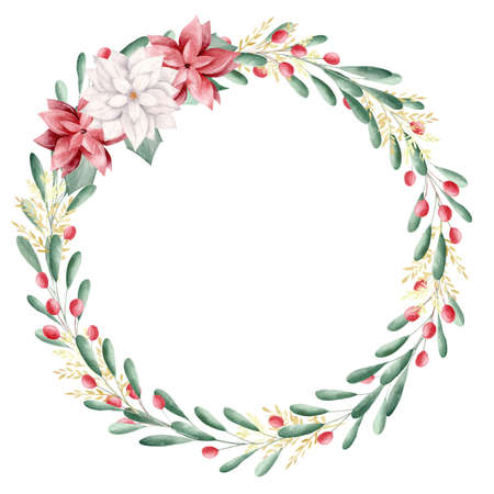 Watercolor Christmas floral wreath with red berries. Perfect for invitations, greeting cards, signs, xmas design.