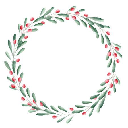 Watercolor greenery and red berries wreath. Christmas clipart. Graphics for diy, scrapbooking, invitations, greeting cards.