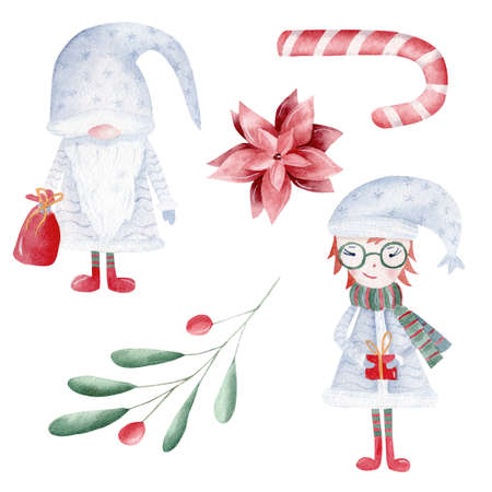 Christmas watercolor clipart set. Hand painted gnome, xmas girl, red flower, candy cane, greenery and berries. Perfect for winter decorations, greeting cards, diy, scrapbooking. 免版税图像