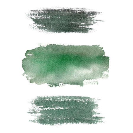 Green watercolor texture. Abstract brush strokes isolated on white background. Graphics for logo, banner, diy, modern design, creative scrapbooking.