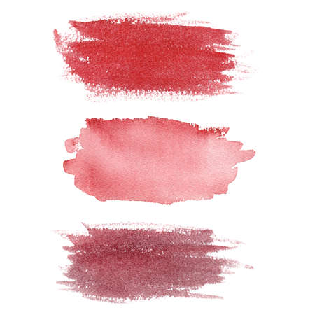 Watercolor brush stroke isolated on white background. Red texture abstract clipart. Graphics for banner, creative design, logo.