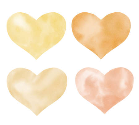 Hearts watercolor clipart. Hand painted illustration isolated on white. Love and valentine graphics. Reklamní fotografie