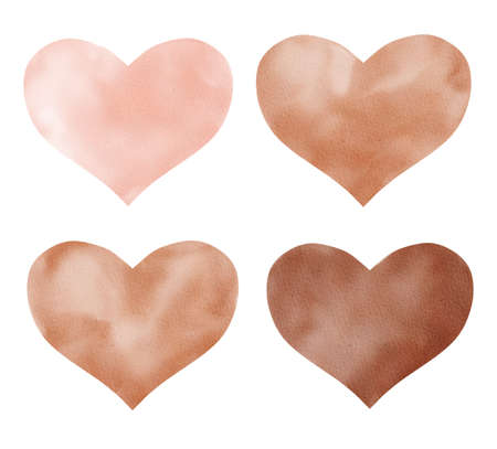 Love hearts watercolor clipart. Hand painted illustration. Graphics for valentine cards, love designs.