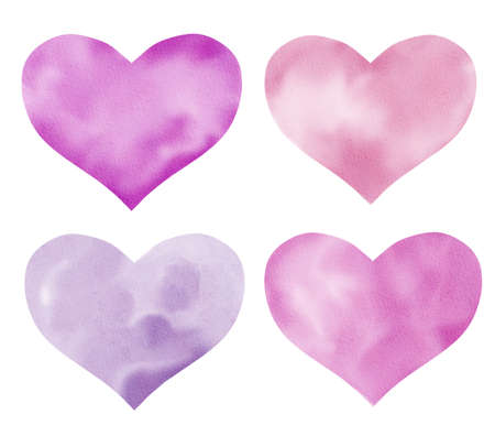 Collection of hand painted purple hearts isolated on white. Watercolor clipart. Perfect for cards, invitations, fabrics, artworks, digital scrapbooking.