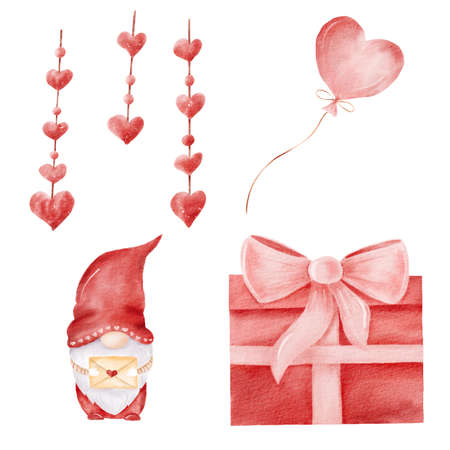 Watercolor red gnome, gift box, balloon and festoon illustrations. Valentine hand painted clipart set for greeting cards, love letter, scrapbooking.