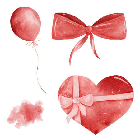 Watercolor red heart shaped gift box, balloon, ribbon, texture. Valentine hand drawn clipart set isolated on white background.