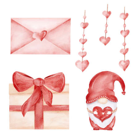 Watercolor red scandinavian gnome, love letter and decor, gift box. Valentine hand drawn clipart collection. Perfect for love designs. Reklamní fotografie