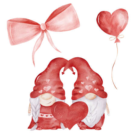 Watercolor gnome couple, balloon and ribbon illustration. Valentine hand painted clipart set for cards, diy, scrapbooking.