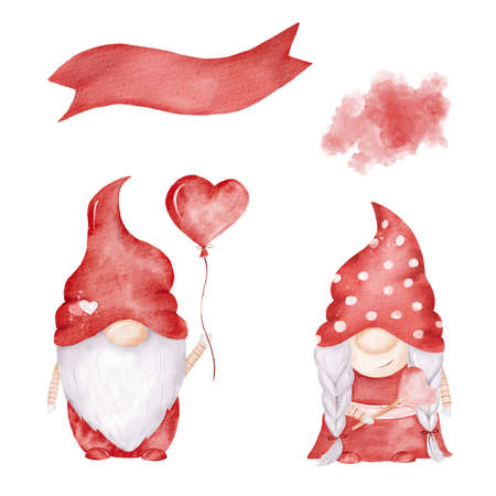 Red gnomes watercolor clipart. Love illustrations set. Graphics for valentine cards, love designs.